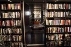 Interiors: Castle TV Show wonderful library opening to beautiful bedroom. Bookcase Wall, Built In Bookcase, Bookcases, Dream Home Design, House Design, Metal Desk Legs, Brown Leather Chairs, Tv Set Design, Richard Castle