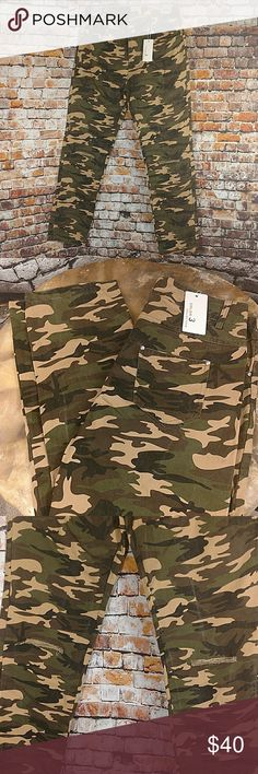 "NWT Distressed Camo Jegging Super cute distressed camouflage skinny jean. Distressed hole in each knee.  Size large. Please see measurements to ensure a proper fit. 30"" waist, 10"" rise, 29"" inseam. Green brown black tan Color Collections Jeans Skinny"