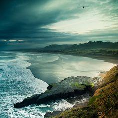 Beautiful Beach at Muriwai, Auckland, New Zealand