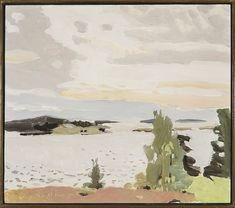 From Hirschl & Adler, Fairfield Porter, Morning Sky Oil on board, 14 × 16 in Figure Painting, Painting & Drawing, Fairfield Porter, Paintings I Love, Ocean Paintings, Morning Sky, Autumn Art, Landscape Paintings, Landscapes