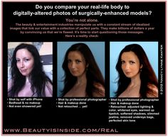 """The """"Courage to be Real"""" Campaign - about cracking the illusion of perfection that makes women hate our bodies and compete with each other. You can be a part of it by submitting """"before & after"""" photos of yourself. Read more about the campaign by clicking through or by visiting http://beautyisinside.com/2012/03/courage-to-be-real-campaign/"""