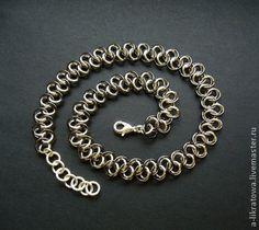 """Колье """"Миттельшпиль"""" - чёрно-белый,серебристый,металлик,металл,цепочка"""