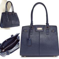 ae88516259 BCBG Paris Chic Story Tote  Deep Navy Blue PRODUCT DESCRIPTION  Supple  leather