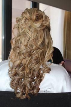 Hair - Half up half down curly. Timeless and romantic. Jewel Hair Design: Julie Flury