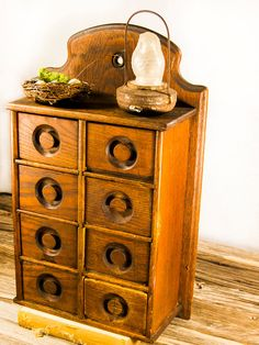 Antique spice cabinet apothecary.