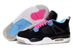 Authentiek Air Jordan 4 anti bont Dames basketbal schoenen zwart roze blauw [AIRJORDAN#0775
