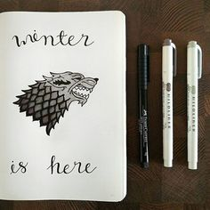 Can you feel the shivers down your spine despite the heat? It's the Game of Thrones fever!  We can't wait to see your GOT designs in your #Leuchtturm1917! Whether you're wise as a Stark  or bold as a Lannister , spread your style onto your favourite bullet journal and warm up before the longest winter in Westeros ❄Who's looking forward to the weekend for the new episode? Awesome sketch @ida.plans!