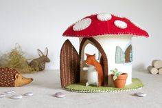 Toadstool Felt House Sewing Pattern – DIY embroidery sewing pattern for Mushroom play house – Toadstool fairy house soft toy tutorial Diy Embroidery, Embroidery Patterns, Sewing Patterns, Felt House, Needle Felting Tutorials, Felt Fairy, Sewing Toys, Felt Animals, Stuffed Toys Patterns