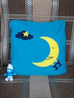 "Children's pillow cover Blue and Yellow . ""The Bald Sun and The Month""   $28.00 USD https://www.etsy.com/listing/127595986/childrens-pillow-cover-blue-and-yellow?ref=shop_home_active_2"
