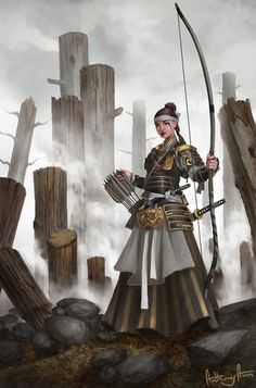 """f Ranger Med Armor Longbow Swords ruins urban Asian Faction sorcerersskull: """"Autumn Guard Archer by AnthonyAvon """" Archer Characters, Dnd Characters, Fantasy Characters, Female Characters, Dragon Samurai, Ronin Samurai, Fantasy Warrior, Fantasy Rpg, Medieval Fantasy"""