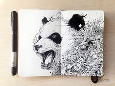 Une sélection des illustrations monochromes et doodles sur Moleskine de l'illustrateur Kerby Rosanes, basé aux Philippines. Des créations magnifiques et com