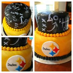 Pittsburgh Steelers fondant cake with chalkboard tier
