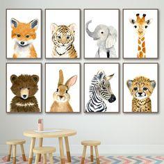 Fox And Rabbit, Elephant Wall Art, Elephant Baby, Giraffe, Nordic Art, Kids Room Wall Art, Animal Decor, Animal Paintings, Canvas Wall Art