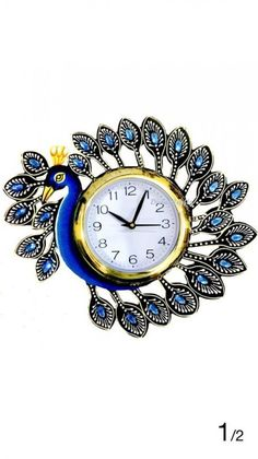 Combo Of Peacock Wooden Wall Clock /& Wall Mounted Key Holder Wall Decoration