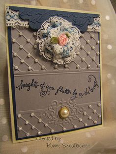 seed pearls look great on this embossing folder