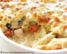 PASTA RECIPES  | pasta bake contains pan-fried chicken, bacon and onion, penne pasta ...