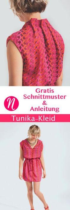 Kostenloses Schnittmuster für ein einfaches Tunika-Kleid. PDF-Schnitt zum Ausdrucken mit Nähanleitung. - Nähtalente - Magazin für kostenlose Schnittmuster.