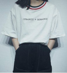 Leisure Style Half Sleeve Round Collar Striped Letter Print T-Shirt For Women 5.51