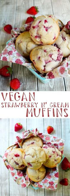 better way to start your day than with these vegan strawberry n' cream muffins? Click the photo for the full recipe!What better way to start your day than with these vegan strawberry n' cream muffins? Click the photo for the full recipe! Vegan Treats, Vegan Foods, Vegan Dishes, Vegan Dessert Recipes, Vegan Breakfast Recipes, Whole Food Recipes, Breakfast Ideas, Recipes Dinner, Breakfast Healthy