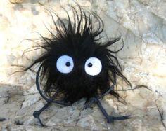 Temperamentvoll entfernt Totoro Plüsch Puppe Keychain Ruß Sprite KUROSUKE (Fluffy mit Hand & Bein)