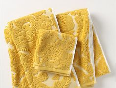 Yellow towels from Anthropologie.