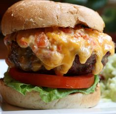Pimento Cheese Burger...YUM! But the last time I had one of these, I felt like I was going to have a heart attack.
