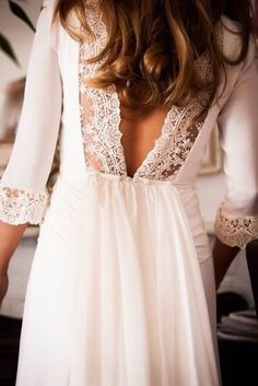 Women's fashion | Open back lace and chiffon chic white dress