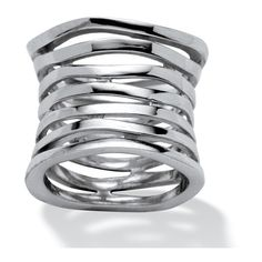 Multi-Row Concave Tailored Band in .925 Sterling Silver ($80) ❤ liked on Polyvore featuring jewelry, rings, jewelry & watches, red, cocktail rings, band rings, evening jewelry, cocktail jewelry и special occasion jewelry