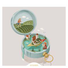 Cassa Rurale Alto Garda - Calendar 2017 on Behance Cute Illustration, Character Illustration, Graphic Design Illustration, Digital Illustration, Creative Poster Design, Graphic Design Posters, Isometric Design, Isometric Art, Graph Design