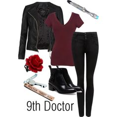 Ninth Doctor Inspired outfit Doctor Who Outfits, Doctor Who Cosplay, Fandom Outfits, Nerd Fashion, Fandom Fashion, Fashion Outfits, Punk Fashion, Lolita Fashion, Fashion Boots