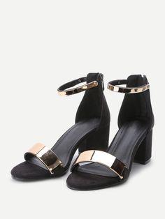 Sandalias de tacón grueso con correa al tobillo metálico - negro 8750c9f9e2ec