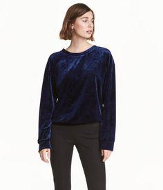 Crushed-velvet Top | Dark blue | Ladies | H&M US