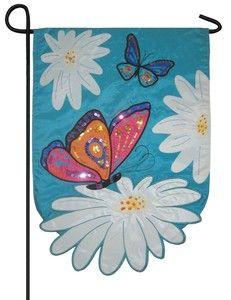 Daisies and Butterflies Sculpted Sequined Applique Garden Flag
