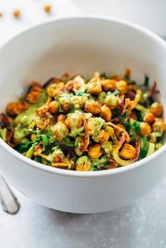 Rainbow Power Salad with Roasted Chickpeas | 21 Delicious Veggie Noodles To Make With Your Spiralizer
