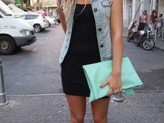 denim vest + mint green clutch