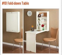 Studio apartment decorating ideas. Maximize small apartment space with these fold-down table.