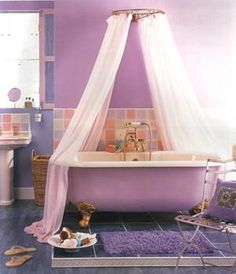 This purple bathroom with a rocking purple and gold claw foot bath tub has a boho chic style.- Done for doll house but with green outside, gold feet and fixtures, white inner. Pastel Bathroom, Purple Bathrooms, Boho Bathroom, Diy Bathroom Decor, Bathroom Ideas, Bathroom Designs, Home Decor Inspiration, Bathroom Inspiration, Dream Bedroom