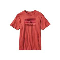 Men's Patagonia Patagonia Sunset Cotton T-Shirt - Sumac Red Graphic T... ($35) ❤ liked on Polyvore featuring men's fashion, men's clothing, men's shirts, men's t-shirts, red, mens tailored shirts, men's regular fit shirts, mens graphic t shirts, mens red shirt and patagonia mens shirts