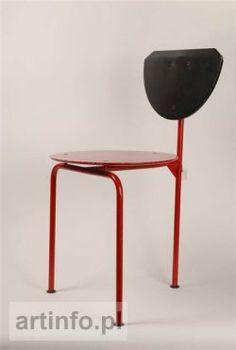 Krzesło trójnożne, lata 60-te XX w. metal malowany, sklejka, wys. 70 cm