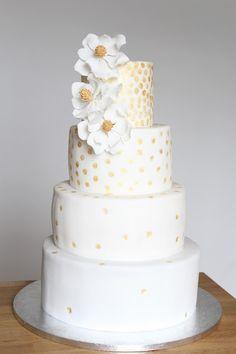 Hochzeitstorte Gold mit Magnolien Sprinkles, Magnolia, Wedding, Cake