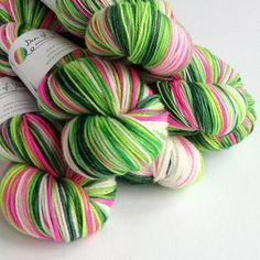 Dyed to order. Christmas yarn, you choose base. Pink and greens by FeltFusion on Etsy Crochet Yarn, Knitting Yarn, Christmas Yarn, Yarn Inspiration, Yarn Stash, Yarn Brands, Hand Dyed Yarn, Double Knitting, Yarn Colors