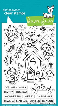 "LAWN FAWN: Frosty Fairy Friends x Clear Acrylic Stamp Set) Have a ""fairy"" magical holiday with these whimsical clear stamps! This set features the fairie Tree Branch Crafts, Tree Branches, Graphic 45, Lawn Fawn Blog, Lawn Fawn Stamps, Image Stamp, Simple Stories, Tampons, Digital Stamps"