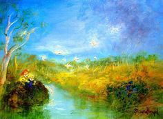 David Boyd  Blue Roses, River of Gold Oil on Board Image Size: 48 cm x  63 cm Price: $48,500 Buy NOW
