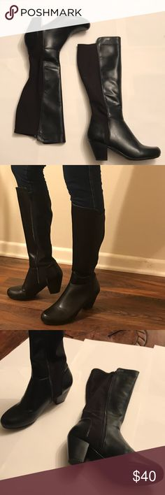 """Black knee high boots - leather and fabric Rialto black knee high boots. Worn once to an outdoor wedding so they do show a tiny bit of wear, the """"inside"""" outer covering on the ankles rub together a bit while walking and wear shows there - shown in pics- it's on the inside though and not really seen at all when on. Rialto Shoes Heeled Boots"""
