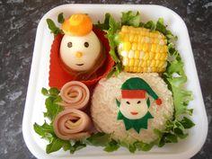 Elf sandwich and Snowman boiled egg bento