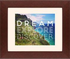 Dream Explore Discover Framed Print, Brown, Contemporary, None, Cream, Single piece, 8 x 10 inches, White