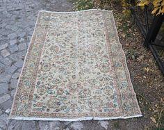 Kitchen Rug, Vintage Area Rug, 3.8 x 5.9 Feet, Floral Design Rug, Free Shipping Oushak Rug, Eclectic Rug, Anatolian Rug No 1356 -    Edit Listing  - Etsy   10% off code INSTAGRAM10