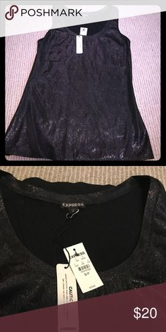 Fun, Flirty little glittery black tank! XS, would be great with white jeans. Express Tops Tank Tops