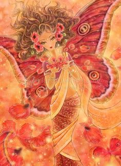 Limited Edition ACEO Crimson Wings  Indian Sari Red by AuroraWings, $8.00