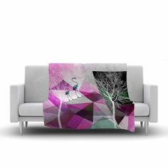 FREE SHIPPING! Shop AllModern for KESS InHouse Flamingo P22 by Pia Schneider Fleece Blanket - Great Deals on all  products with the best selection to choose from! #blanket #geometric #art  #decorideas  #livingroomdecor #giftidea #pink #flamingo #trees